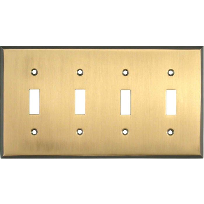 Antique Brass with Black Border - 4 Toggle Light Switch Covers