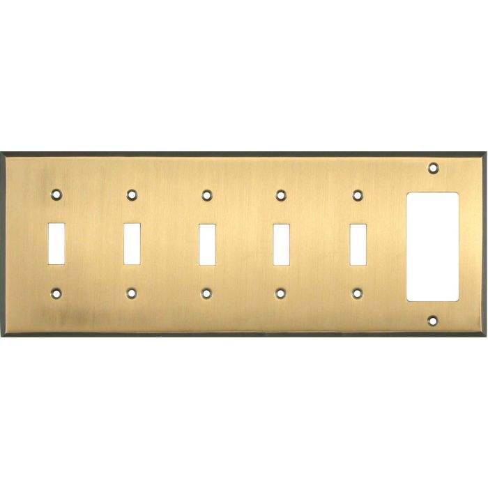 Antique Brass with Black Border - 5 Toggle/GFCI Rocker Combo Wallplates