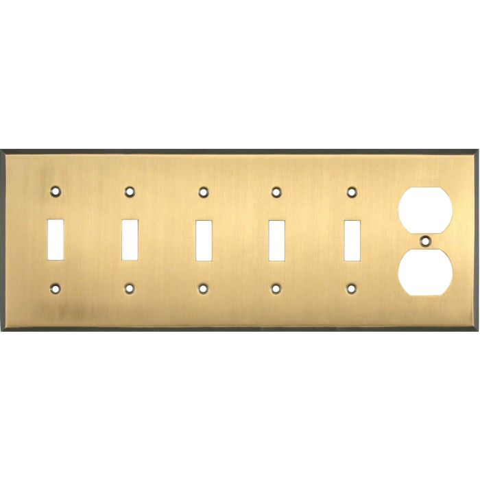 Antique Brass with Black Border - 5 Toggle Duplex Outlet Combo Wallplates