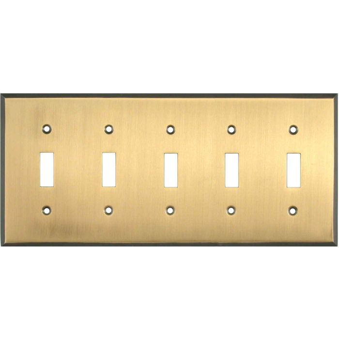 Antique Brass with Black Border - 5 Toggle Wall Switch Plates