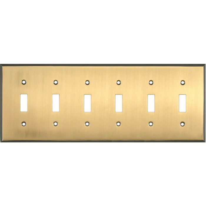 Antique Brass with Black Border - 6 Toggle Light Switch Covers