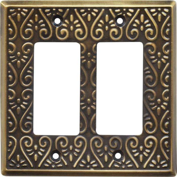 Filigree Antique Brass 2 Gang Double GFCI Rocker Decorator Wallplates