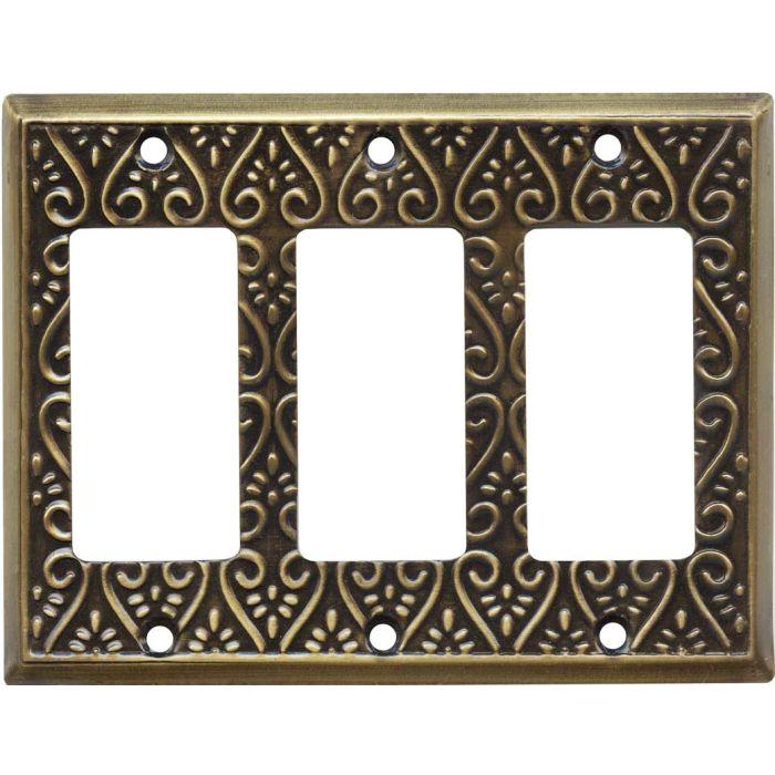 Filigree Antique Brass Triple 3 Rocker GFCI Decora Light Switch Covers