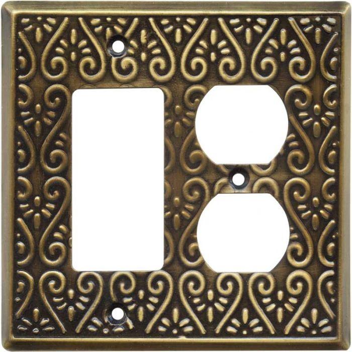 Filigree Antique Brass Combination GFCI Rocker / Duplex Outlet Wall Plates
