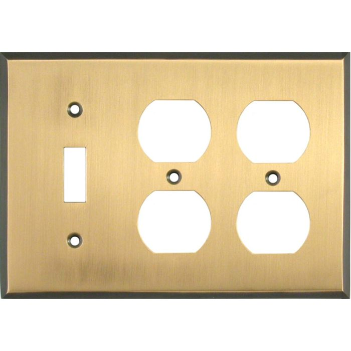 Antique Brass with Black Border - 1 Toggle/2 Duplex Outlet Wall Plates