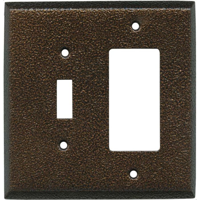 Antique Copper TEXTURE - Combination 1 Toggle/Rocker Switch Covers