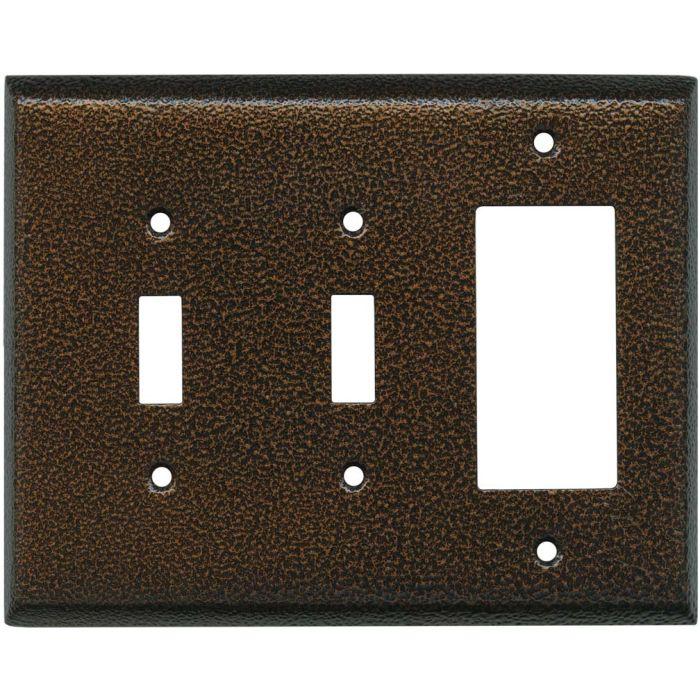Antique Copper Texture - 2 Toggle/1 GFCI Rocker Switchplates