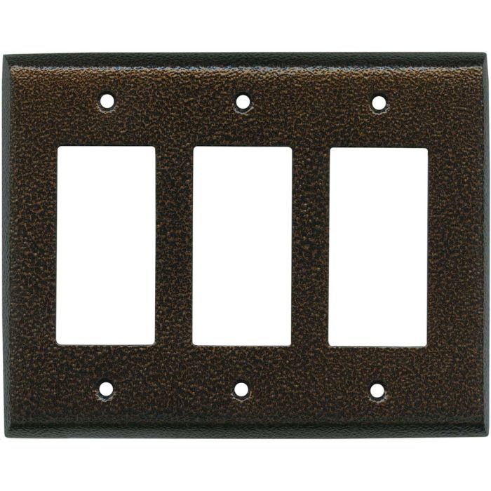 Antique Copper Texture - 3 Rocker GFCI Decora Switch Covers