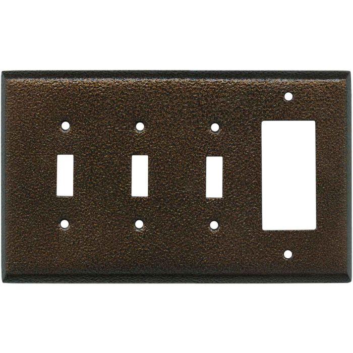Antique Copper Texture - 3 Toggle/1 Rocker GFCI Switch Covers