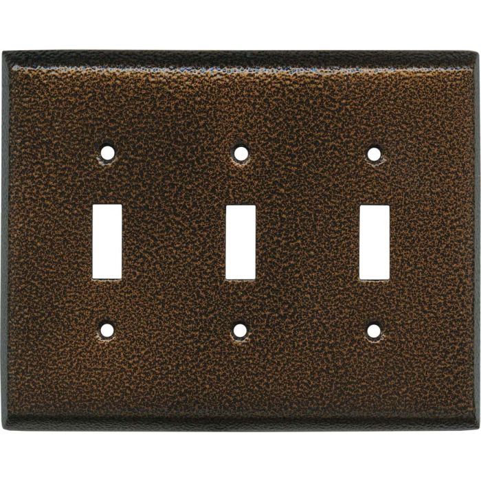 Antique Copper Texture Triple 3 Toggle Light Switch Covers