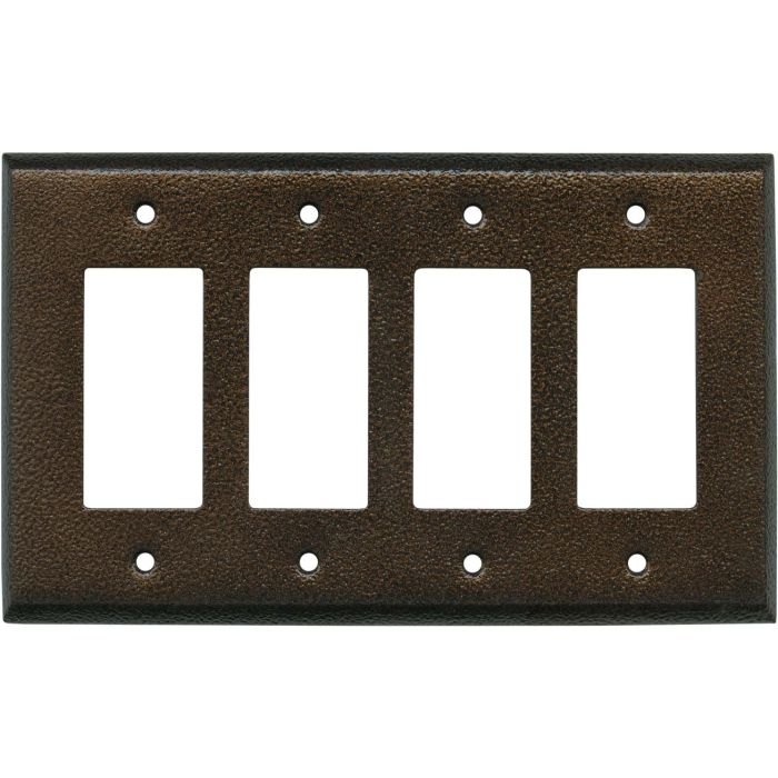 Antique Copper Texture - 4 Rocker GFCI Decora Switch Plates