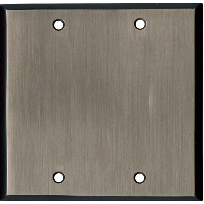 Antique Pewter Double Blank Wallplate Covers