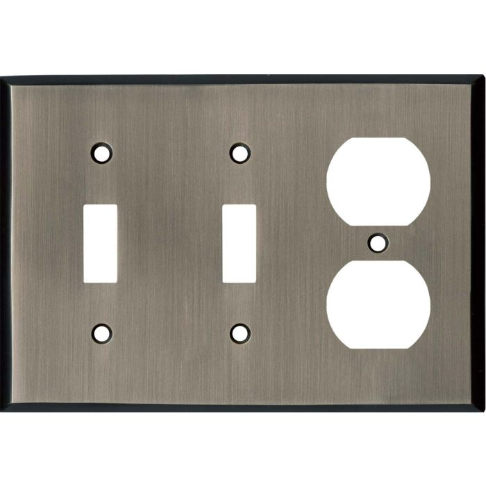 Antique Pewter - 2 Toggle/Outlet Combo Wallplates