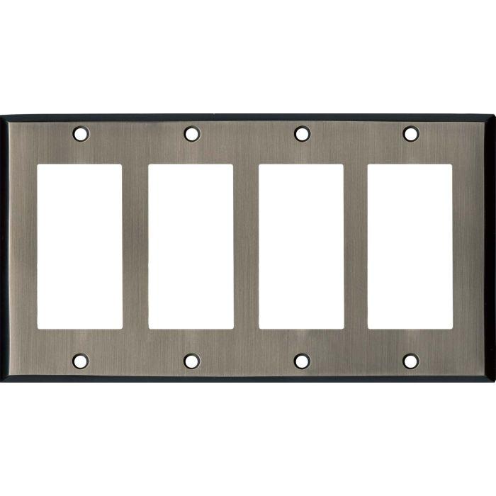 Antique Pewter - 4 Rocker GFCI Decora Switch Plates