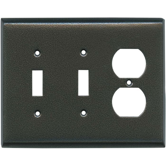 Antique Pewter Texture Double 2 Toggle / Outlet Combination Wall Plates