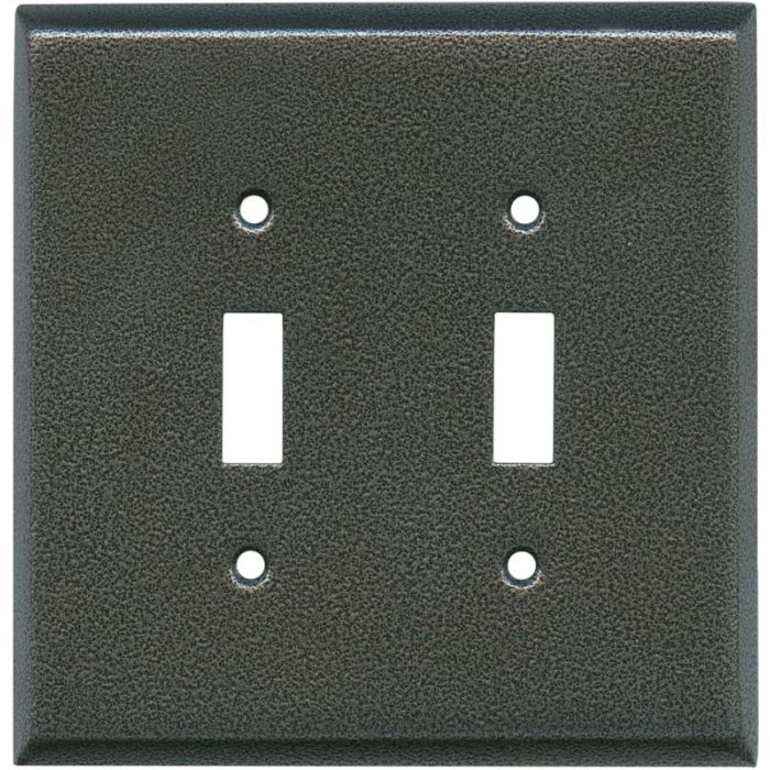 Antique Pewter Texture Double 2 Toggle Switch Plate Covers