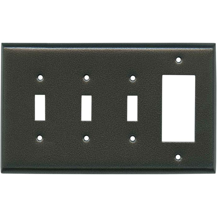 Antique Pewter Texture Triple 3 Toggle / 1 Rocker GFCI Switch Covers