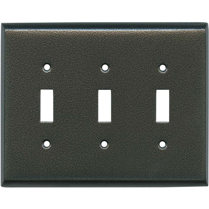 Antique Pewter Texture Triple 3 Toggle Light Switch Covers