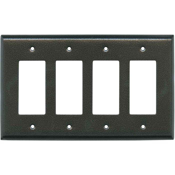 Antique Pewter Texture - 4 Rocker GFCI Decora Switch Plates
