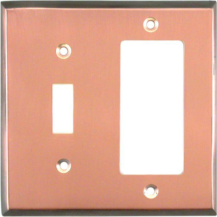 Antique Edge Copper Combination 1 Toggle / Rocker GFCI Switch Covers