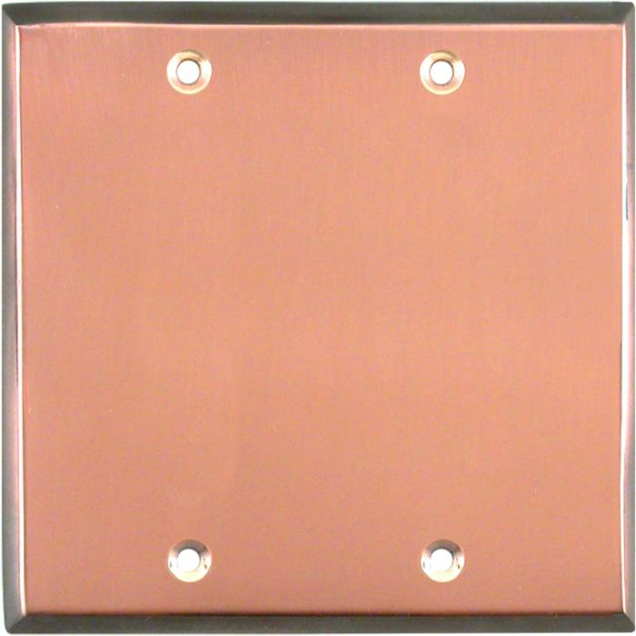 Antique Edge Copper Double Blank Wallplate Covers