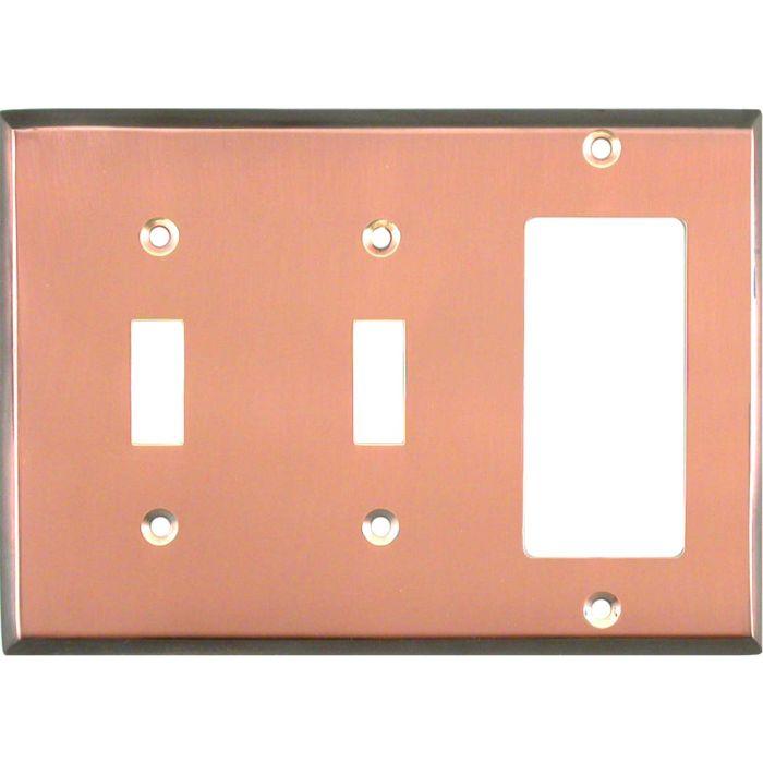Antique Edge Copper Double 2 Toggle / 1 GFCI Rocker Combo Switchplates