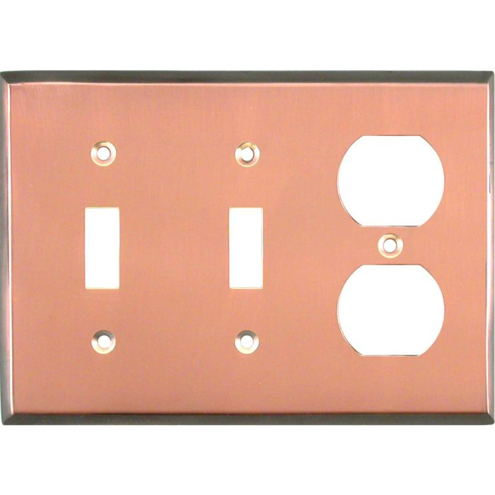 Antique Edge Copper Double 2 Toggle / Outlet Combination Wall Plates