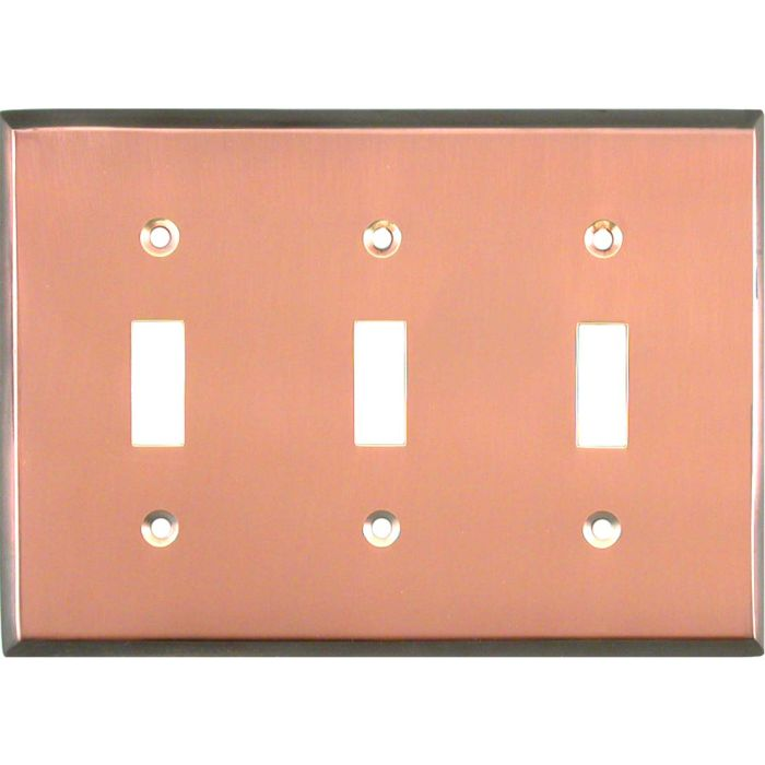 Antique Edge Copper Triple 3 Toggle Light Switch Covers