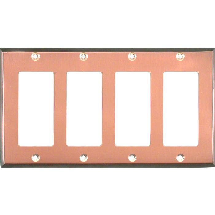 Antique Edge Copper 4 Rocker GFCI Decorator Switch Plates