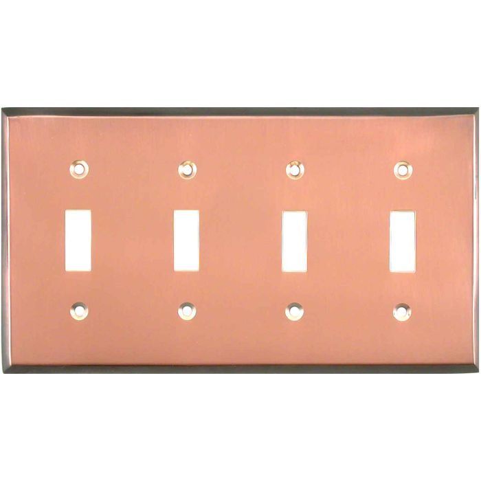 Antique Edge Copper Quad 4 Toggle Light Switch Covers