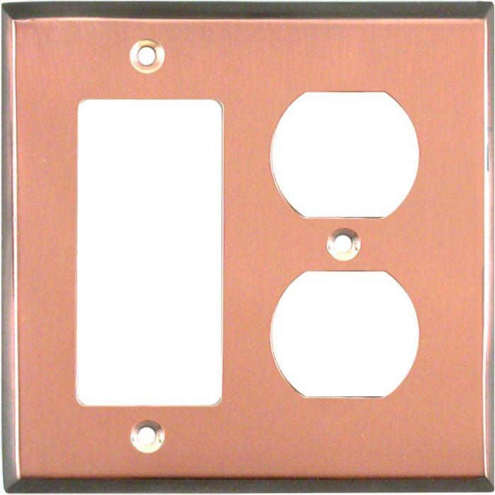 Antique Edge Copper Combination GFCI Rocker / Duplex Outlet Wall Plates