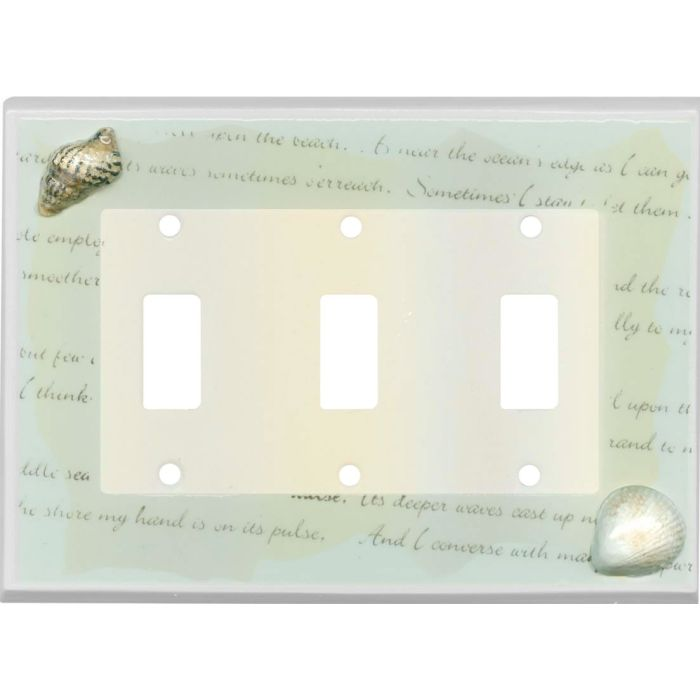 Shells Ceramic Triple 3 Toggle Light Switch Covers