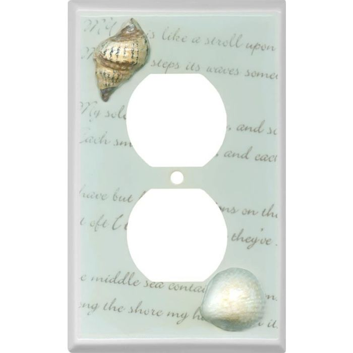 Shells Ceramic 1 Gang Duplex Outlet Cover Wall Plate