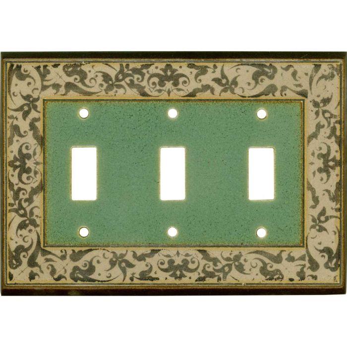 Arabesque Ceramic Triple 3 Toggle Light Switch Covers