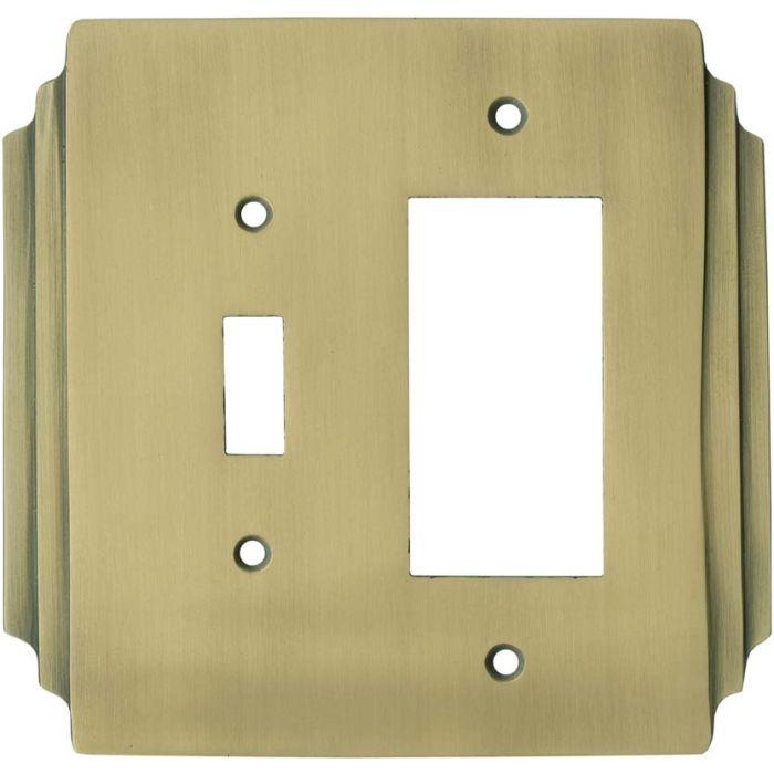 Art Deco Miami Beach Antique Brass 1 Toggle Wall Switch Plate - GFI Rocker Cover Combo