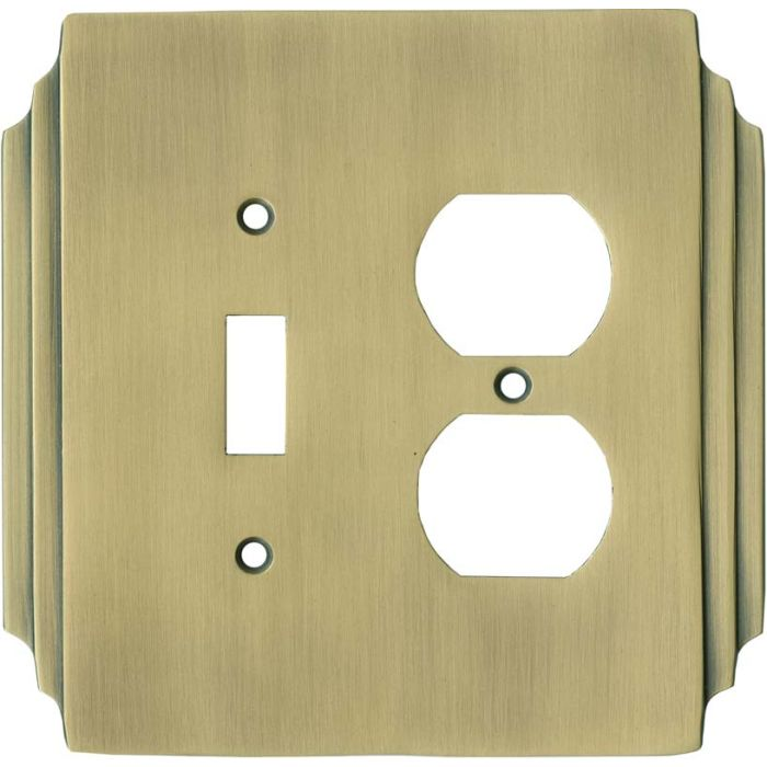 Art Deco Miami Beach Antique Brass - Combination 1 Toggle/Outlet Cover Plates