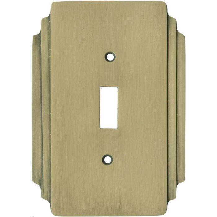 Art Deco Miami Beach Antique Brass Single 1 Toggle Light Switch Plates