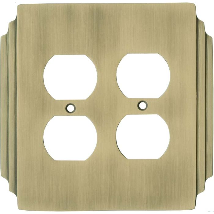 Art Deco Miami Beach Antique Brass - 2 Gang Electrical Outlet Covers