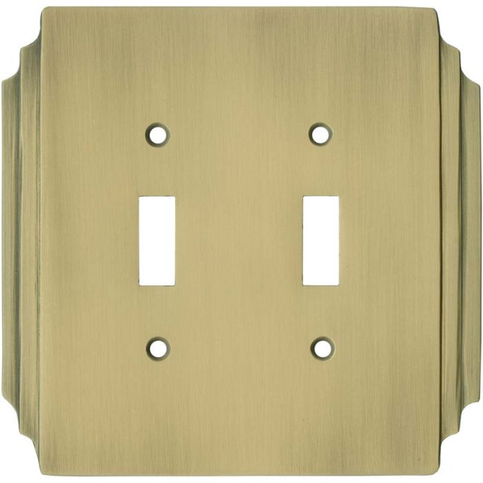 Art Deco Miami Beach Antique Brass - 2 Toggle Switch Plate Covers