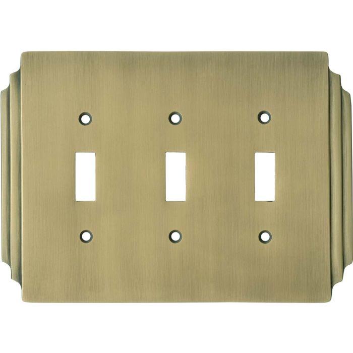Art Deco Miami Beach Antique Brass Triple 3 Toggle Light Switch Covers