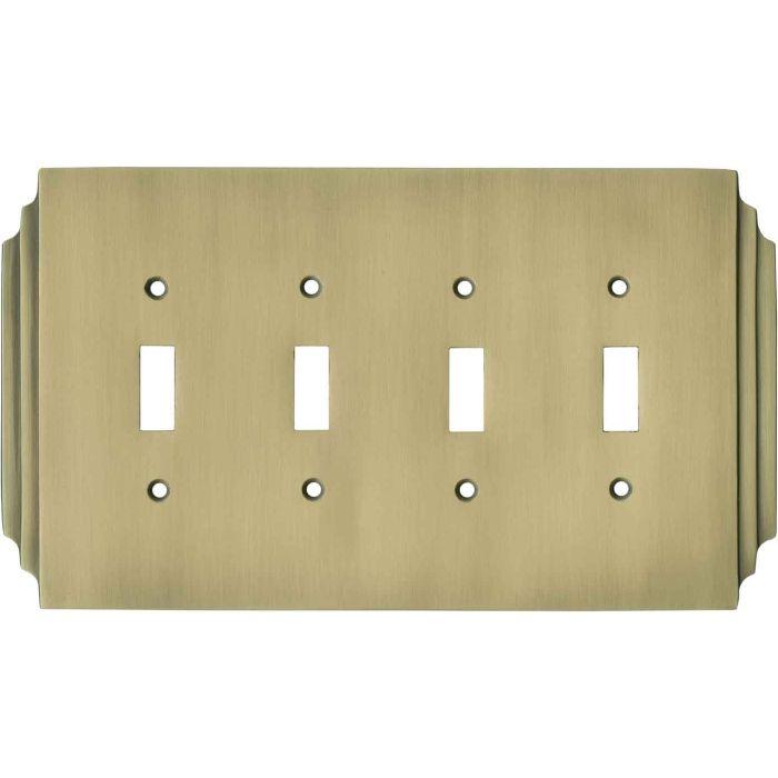 Art Deco Miami Beach Antique Brass - 4 Toggle Light Switch Covers