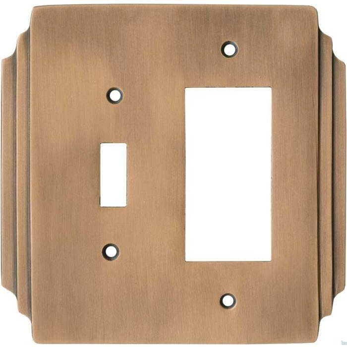 Art Deco Miami Beach Antique Copper 1 Toggle Wall Switch Plate - GFI Rocker Cover Combo