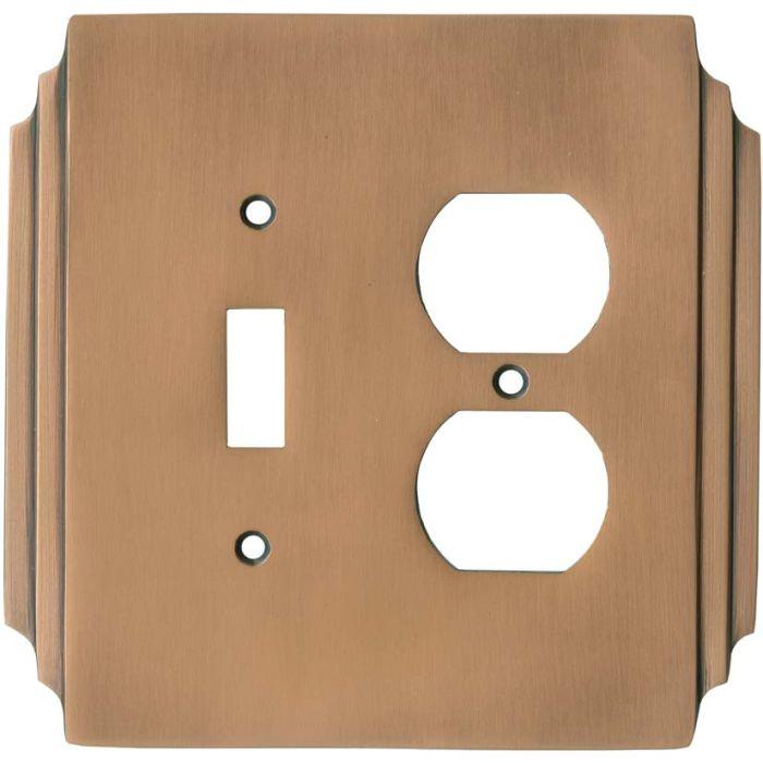 Art Deco Miami Beach Antique Copper Combination 1 Toggle / Outlet Cover Plates