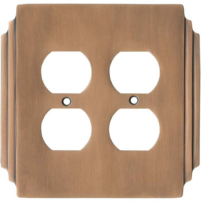 Art Deco Miami Beach Antique Copper - 2 Gang Electrical Outlet Covers