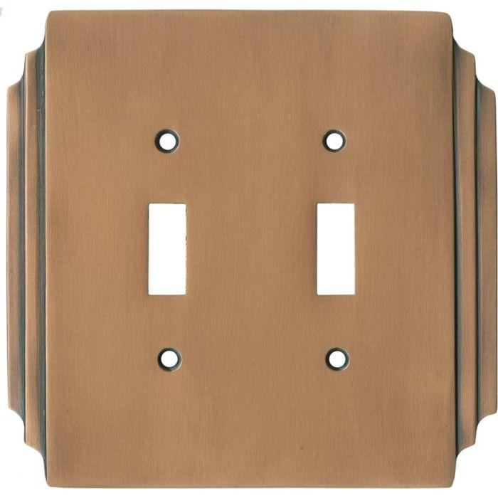 Art Deco Miami Beach Antique Copper 2 Toggle Switch Plates