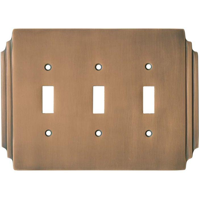 Art Deco Miami Beach Antique Copper - 3 Toggle Light Switch Covers
