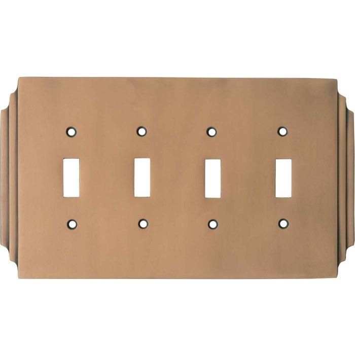Art Deco Miami Beach Antique Copper - 4 Toggle Light Switch Covers