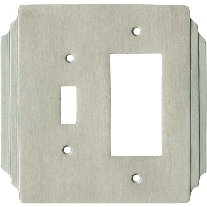 Art Deco Miami Beach Satin Nickel Combination 1 Toggle / Rocker GFCI Switch Covers
