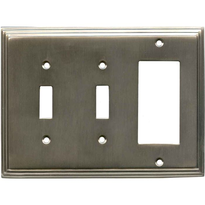 Art Deco Step Antique Pewter - 2 Toggle/1 GFCI Rocker Switchplates