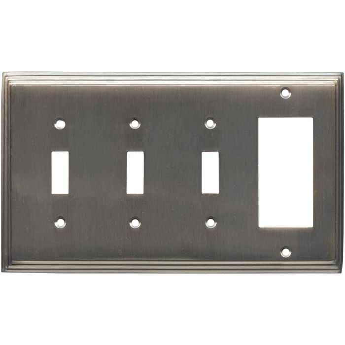 Art Deco Step Antique Pewter Triple 3 Toggle / 1 Rocker GFCI Switch Covers